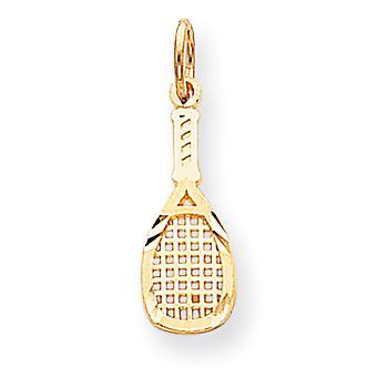 10 k gul guld polerad Sparkle-Cut Solid squash racket Charm -.6 gram