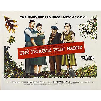 Problem med Harry från vänster John Forsythe Shirley Maclaine Edmund Gwenn Mildred Natwick 1955 film affisch Masterprint