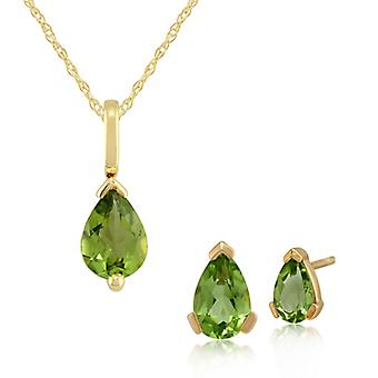 Gemondo 9ct jaune or péridot griffe poire Set Stud Earring & ensemble de collier de 45cm