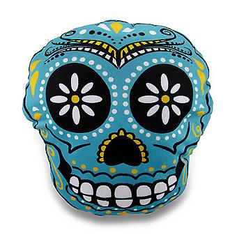 Plush Day of the Dead Sugar Skull Fuzzy Accent Pillow