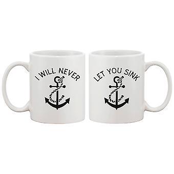 Söt ankare matchande kaffemuggar för bästa vänner - jag kommer aldrig låta dig sjunka - BFF gåva och tillbehör