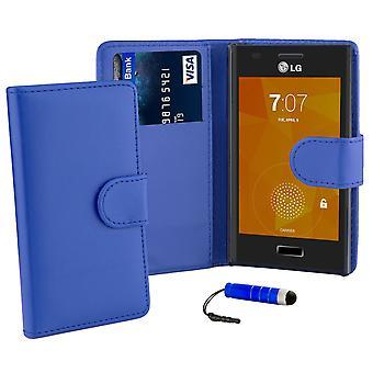 Boken plånbok fallet täcker för LG Optimus L5ii E460 + stylus - Deep Blue
