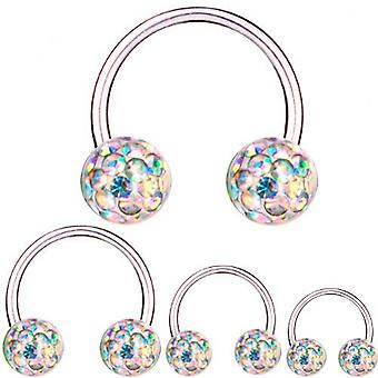 Circulaire Barbell Titanium 1,6 mm, Multi Crystal Ball Aurora Borealis | 8 - 16 mm