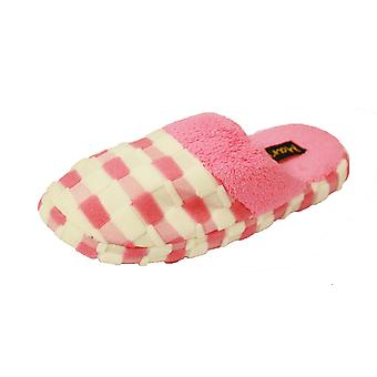 New Ladies Coolers Fleece Mule Slipper Gingham Print With Fleece Lining A23