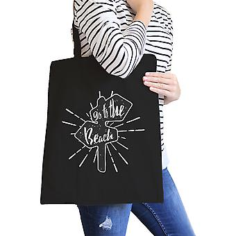 Go To The Beach Black Heavy Cotton Canvas Beach Tote For Summer