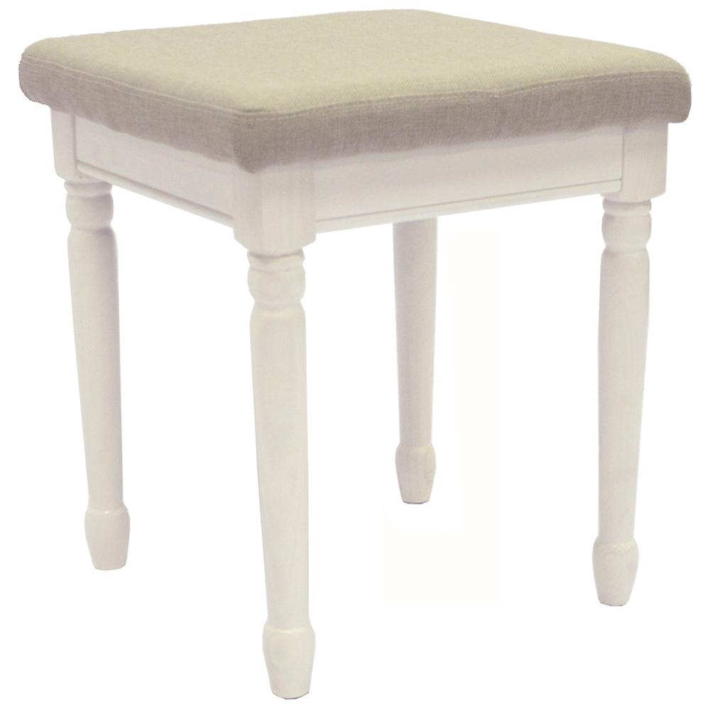 Strand - Solid Wood Dressing Table Stool With Padded Seat - White / Warm Grey