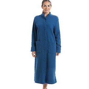 Camille Various Colours Soft Fleece Floral Full Length Button Up Housecoat