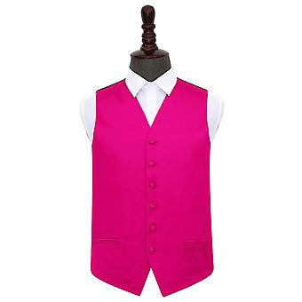 Hot Pink Plain Satin Wedding Waistcoat