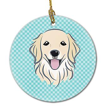 Skakternet blå Golden Retriever keramiske Ornament