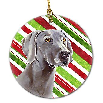 Weimaraner Candy Cane Holiday Christmas Ceramic Ornament LH9251