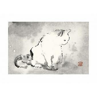 Oriental Cat III Poster Print by Dehong Chen (28 x 20)