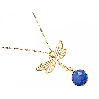 Gemshine - ladies - necklace - pendant - 925 Silver - gold plated - Dragonfly - sapphire - blue - 45 cm