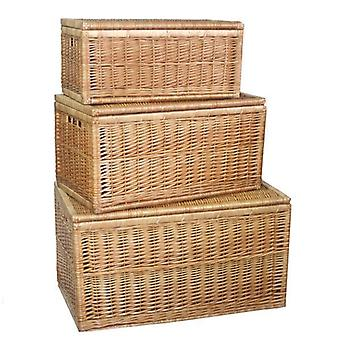 Set of 3 Light Steamed Wicker Linen Chest