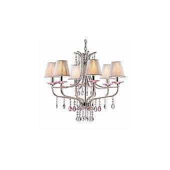 Violette Chrome And Glass Six Light Chandelier - Ideal Lux 15439