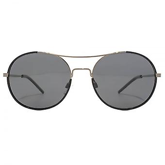 Polaroid Timeless Metal Round Sunglasses In Dark Ruthenium Polarised