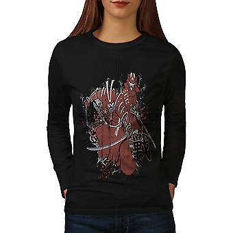 T-shirt van de koker van de BlackLong van de vrouwen van de Katana van het Fantasy van Warrior | Wellcoda