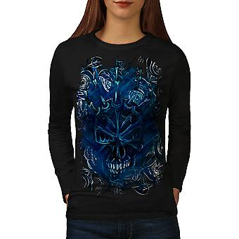 Blue Rose Skull Women BlackLong Sleeve T-shirt | Wellcoda