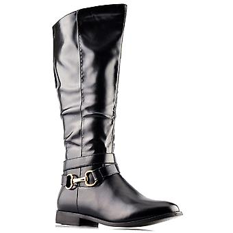 Ladies Womens New Mid Calf Inside Zip Riding Biker Chain Boots Shoes