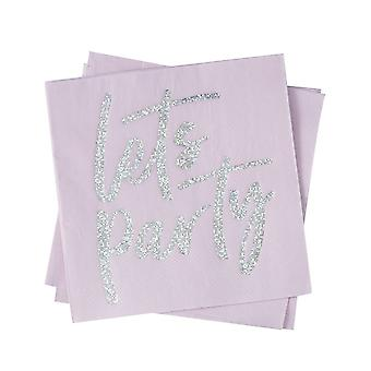 IRIDESCENT FOILED LETS PARTY PAPER NAPKINS - GOOD VIBES r