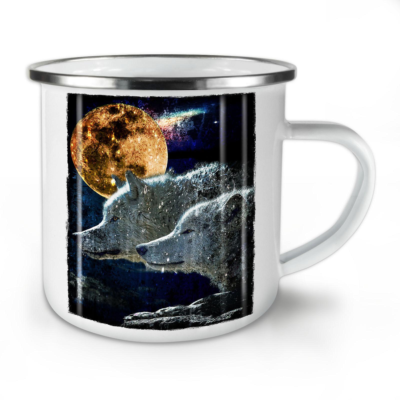 Moon Nouveau OzWellcoda Wolf Café Couple De Animal Mug10 Whitetea Émail b7gYf6yv