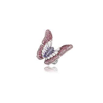 Butterfly Crystal Violet ring and plate Rhodium - T52