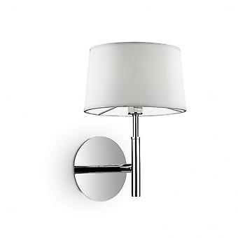 Ideal Lux Hilton Hotel Polished Chrome Single Wall Sconce With Shade