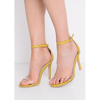 Perspex Strap Heeled Stiletto Sandals Yellow