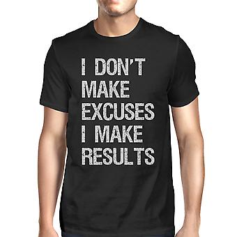 Excuses Results Mens Black Lightweight Cool Cotton T-Shirt Gifts