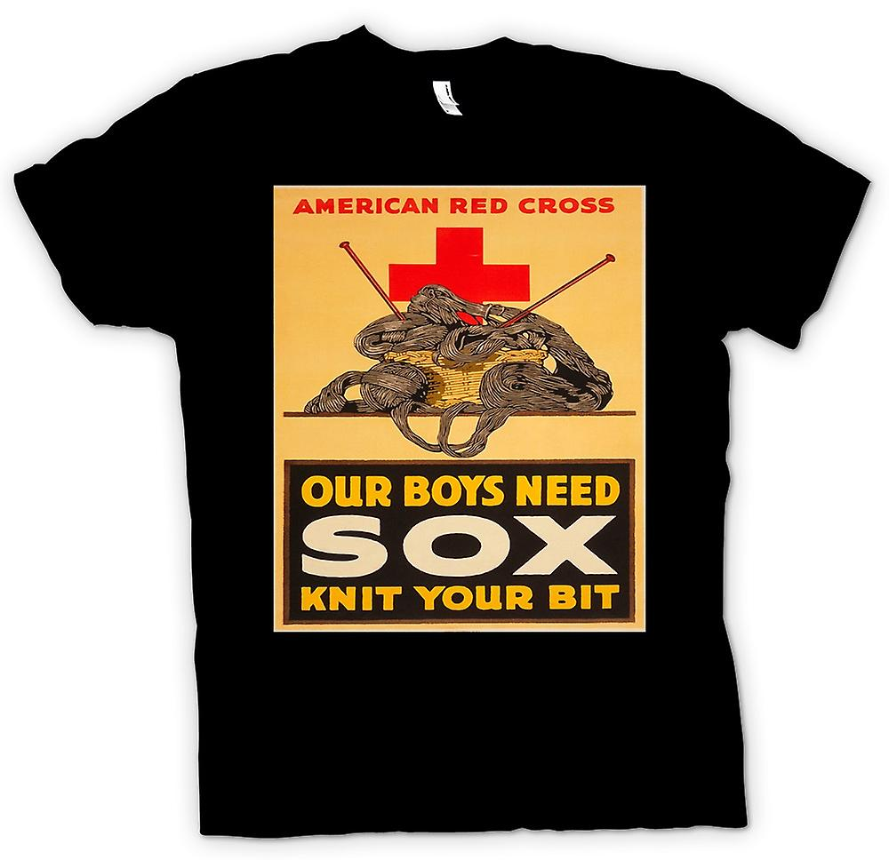 Mens T-shirt - Our Boys need Sox - Vintage - War