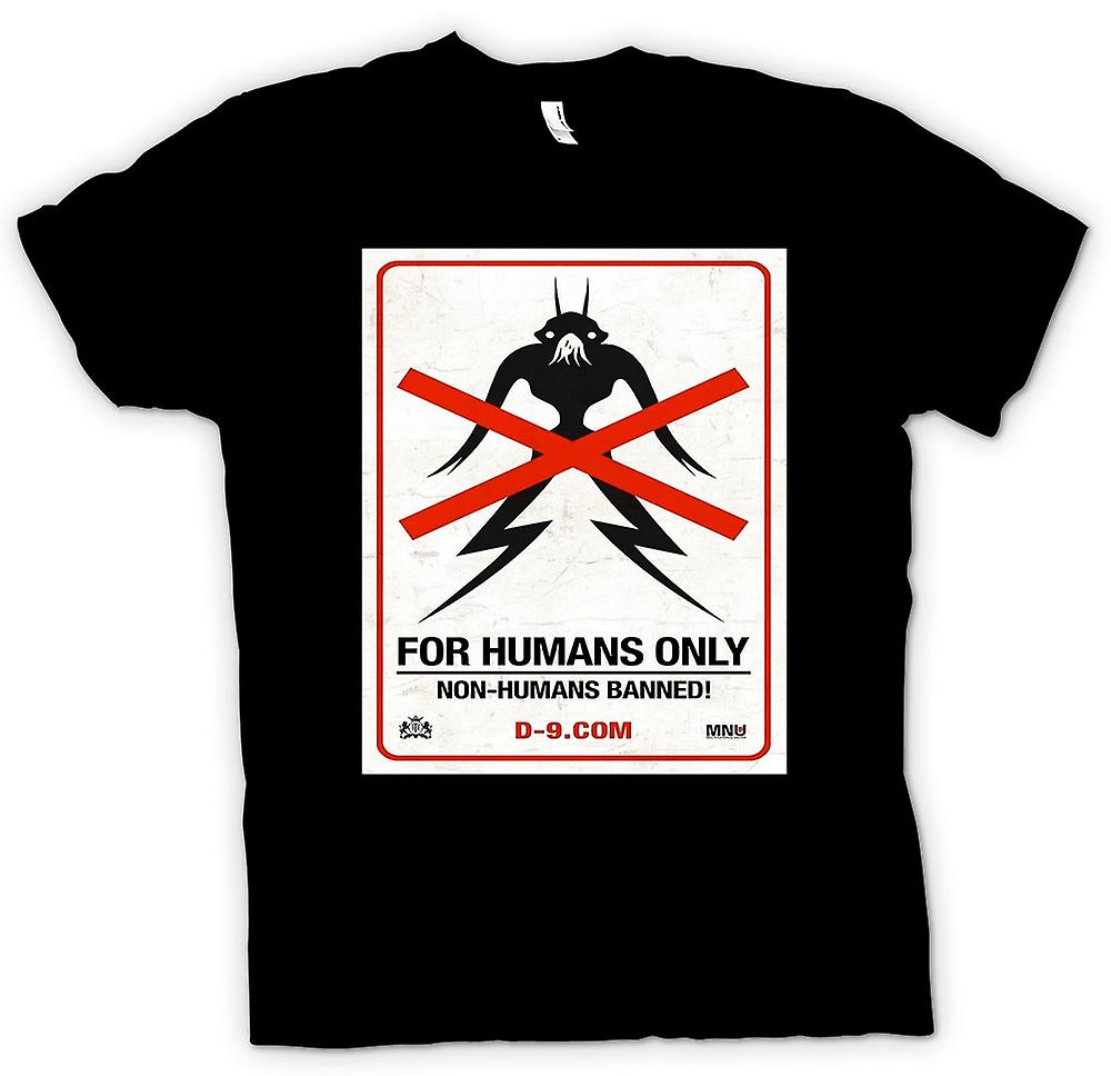 Mens T-shirt - District 9 - Warning - Poster - No Humans