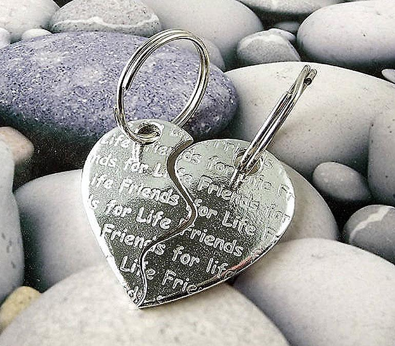 Friends For Life Two Piece Heart Pewter Key Rings