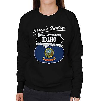 Seasons Greetings Idaho State Flag Christmas Women's Sweatshirt