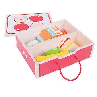 Bigjigs Toys boîte-repas en bois avec de la nourriture de jeu en bois - jouets jeu