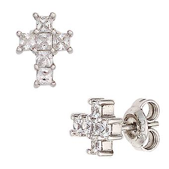 Rhodium-plated earrings cross earrings Silver 925 sterling silver with 12 cubic zirconia