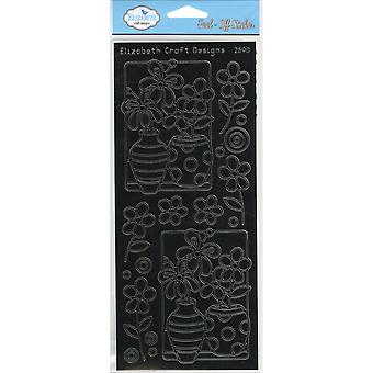 Flower Vases Peel-Off Stickers-Black