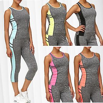 Ladies Sport Set Fitness Shirt Leggings Training Pants Two Piece Workout Tank Top