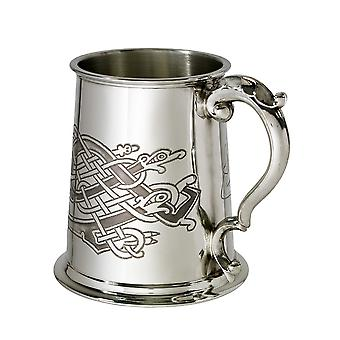 Celtic Birds Pattern Pewter Tankard - 1 pint