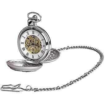 Woodford Archibald Knox Chrome Plated Double Full Hunter Skeleton Pocket Watch - Silver