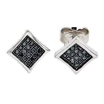 Rhodium-plated earrings angular 925 Sterling Silver earrings with black cubic zirconia
