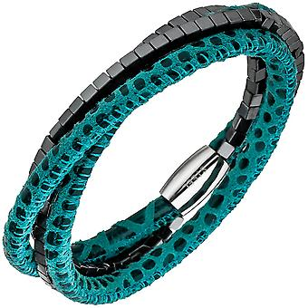 Leather Bracelet turquoise with Hematite cubes and stainless steel 19 cm bracelet