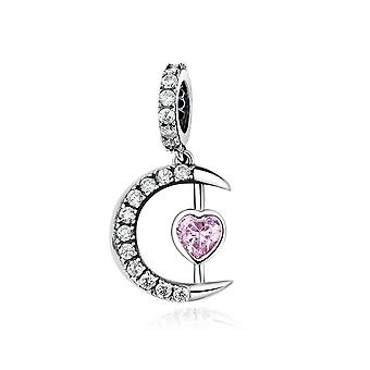 Sterling silver pendant charm Moon with pink heart