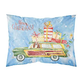 Merry Christmas Basset Hound Fabric Standard Pillowcase
