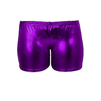 Girls Metallic Wet Look Gymnastics Dance Stretch Party Children's Hot Pants Shorts