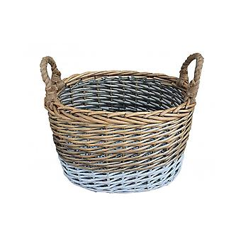 Small Oval Triple Tone Chunky Wicker Storage Basket
