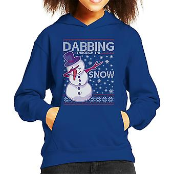 Dabbing Through The Snow Snowman Christmas Knit Pattern Kid's Hooded Sweatshirt