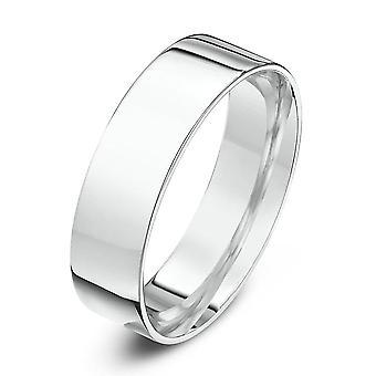 Star Wedding Rings 9ct White Gold Light Flat Court Shape 6mm Wedding Ring