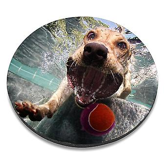 i-Tronixs - Underwater Dog Printed Design Non-Slip Round Mouse Mat for Office / Home / Gaming - 9