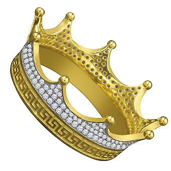 925 sterling silver micro pave hängen - KING gold Crown