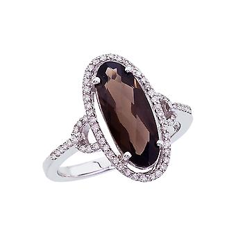 14k White Gold Long Oval Smokey Topaz And Diamond Ring