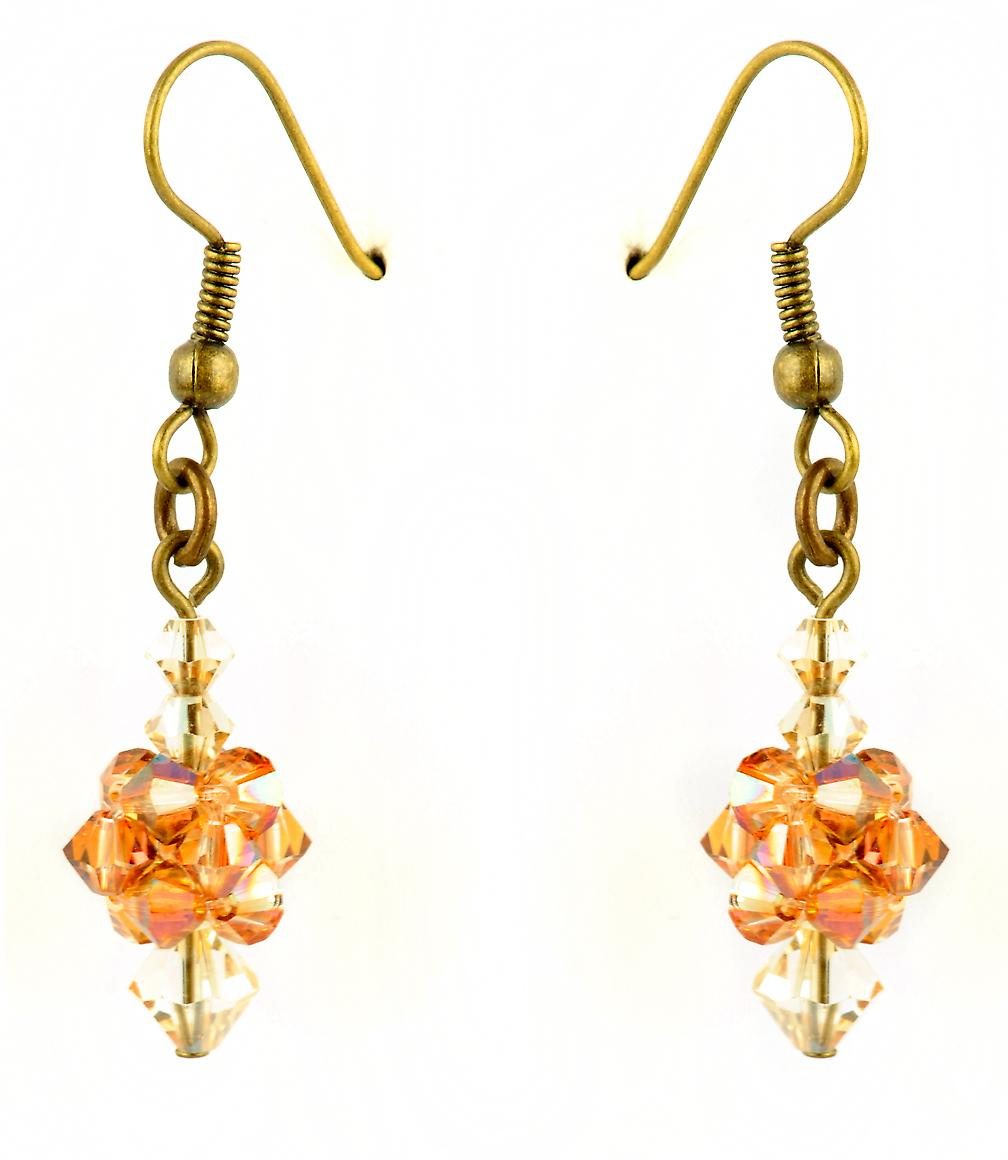 Waooh - jewelry - WJ0770 - earrings with Swarovski white rhinestones & - mount colour gold